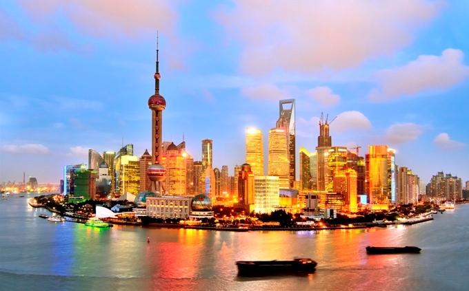Shanghai skyline in Sunset