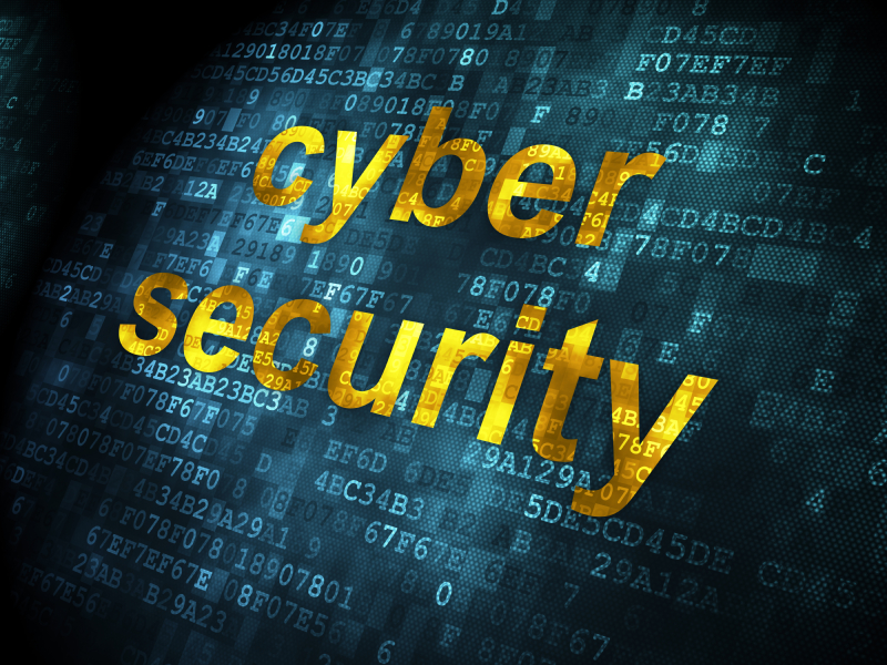 Safety concept: pixelated words Cyber Security on digital background, 3d render