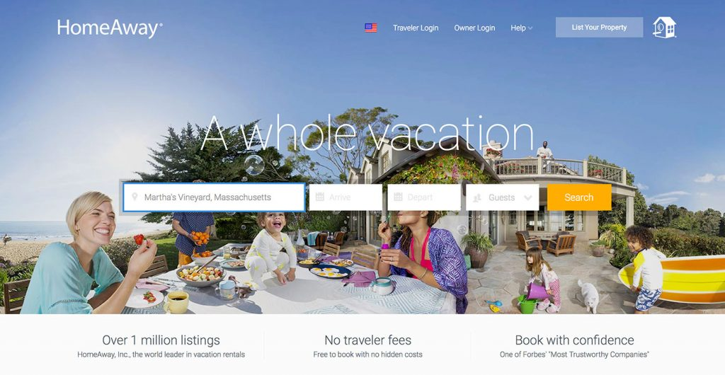 HomeAway renters search for properties and connect with landlords online.