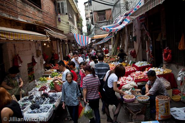 bustling back street market
