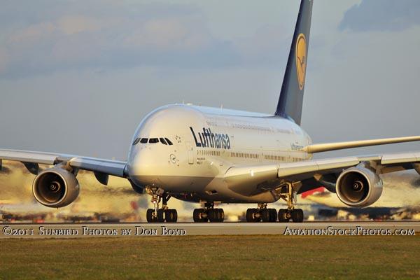 Lufthansa A380 taking off on runway 27 at Miami International Ai